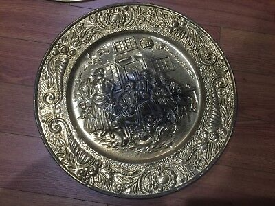 "Lot of 4 Vintage Peerage Embossed Brass Wall Plate ,14"" ,Made in England 11"
