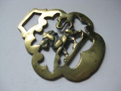 vintage brass medallion horse saddle bridle ornament harness lion England  N 5