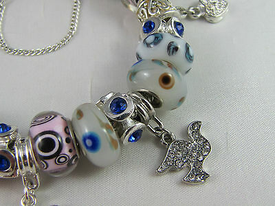 """SWEET 925 STAMPED SILVER 20cm EUROPEAN STYLE CHARM BRACELET """" MERRY PLAYGROUND """" 4"""