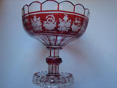 antiker Andenken-Tafelaufsatz,  rot gebeizt, original Biedermeier 2