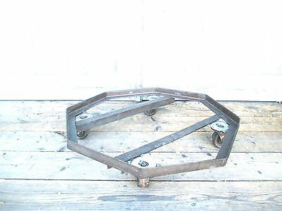 rare PLANT STAND on wheels MODERN octagon dolly STEM PUNK old MID CENTURY 8