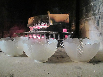 Gas Light Shades - 3 matching - FLORAL DESIGN / Frosted - Clear 7