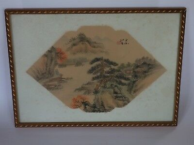 Rare Antique Chinese Fan Original Painting on Silk Fantastic Country Landscape 2