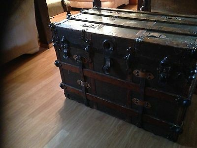 Antique Vintage Ships Trunk 19th Century, Collectable S S Friesland Ship 7