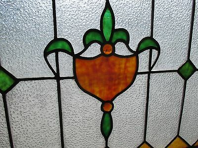 ~ ANTIQUE AMERICAN STAINED GLASS TRANSOM WINDOW 32 x 23.25 ARCHITECTURAL SALVAGE 4