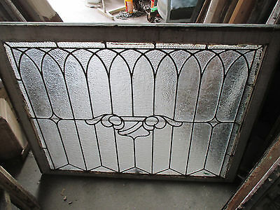 ANTIQUE AMERICAN STAINED GLASS WINDOW 40.25 x 31.25 ~ ARCHITECTURAL SALVAGE ~ 8