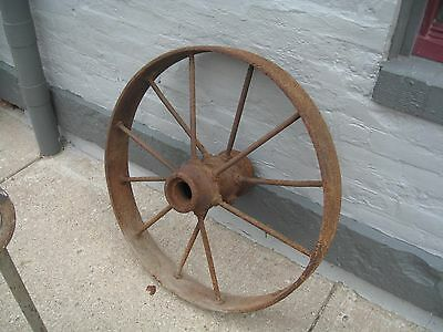 Large Steel Farm Tractor Wheel Rim steam thresher Antique vintage spoked 2