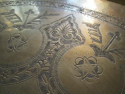 """Gorgeous Antique Persian Islamic Engraved Copper Tray 38""""/ 97cm/ 14lbs 2"""