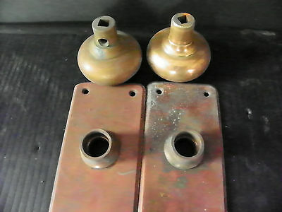 Antique Brass Door Hardware (2 Plates And 2 Knobs)  6279 3