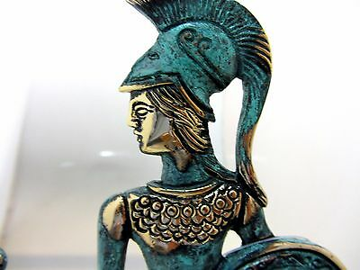 Ancient Greek Bronze Museum Statue Replica Athena Wth Shield & Owl Collectable