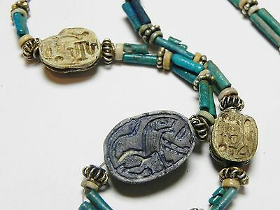 Zurqieh - 50W- Ancient Egypt. Necklace Of Faience Beads & Scarabs. 1400 B.c 2