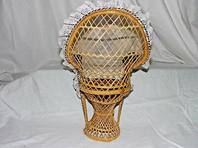 """Large 16"""" Peacock Style Wicker Rattan Chair Doll Furniture Purple & White Lace 5"""