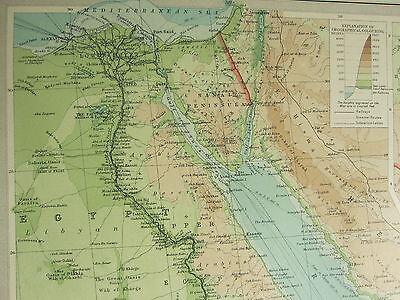 1922 Large Antique Map ~ Egypt & The Nile Uganda ~ Town Plan Aden Alexandria 3