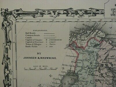 Nice Large Detailed 1867 Hand-Colored Johnson & Browning Map, Russia & Empire! 3