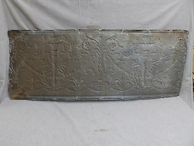 1 Salvaged Antique Tin Ceiling Decorative Pattern Old Vtg Torch Trim Edge 150-16 5