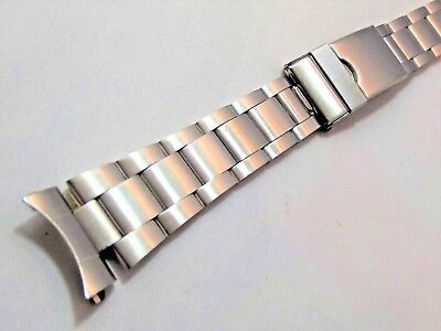 oyster satinato acciaio doppia chiusura ansa curva 20mm watch band orologi steel 2