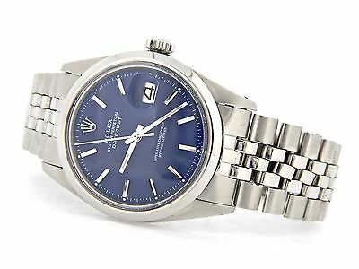 Rolex Datejust Mens Stainless Steel Watch With Blue Dial Original