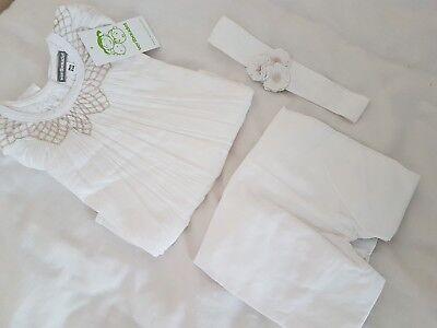 BNWT Girls 3 yrs white 3 pc outfit set top bottoms headband Vertbaudet 2