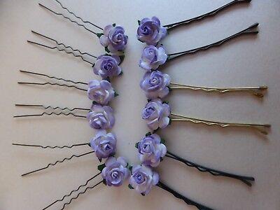 Kirby Grips,,Flower Girl,Prom,Accessories Purple Vintage Rose Flower Hair pins