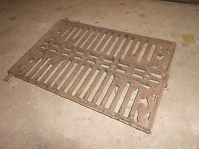 "Antique Cast Iron Door 18"" long 12"" tall 1"" thick grate ornate vintage original"