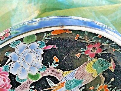 Antique Arita Imari Dish Bowl Signed Japan Enamel Porcelain Rare Flowers Birds 8