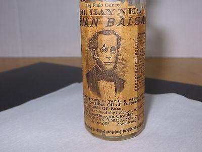 Apothecary Medicine Bottle Dr. Hayne's Arabian Balsam. Prov, R.I. Paper Label 2