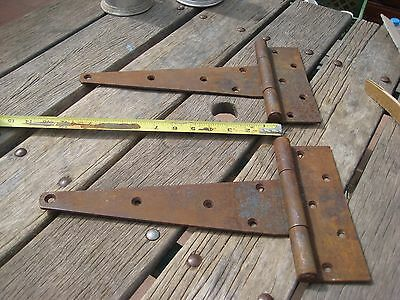 "Vintage ***   12"" Length   *** Rusted Strap T-Hinges Set of 2 3"