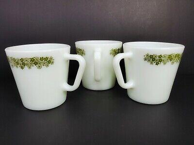 Vintage Retro 3 Pyrex Green Flowers No 1410 Mugs Coffee Cups 300 ml 10.14 oz. 5