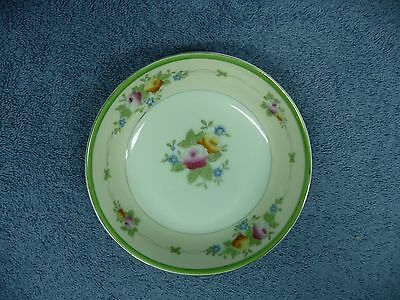 Vintage Hand Painted Japan Small Round Bowl With Flowers Gold & Green Rim 2