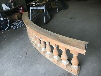 "c1890 curved porch balustrade 10' x 25"" x 8.5"" HUGE BEEFY spindle 19.5"" x 5.5"" 7"