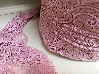"Pretty Tan Skintone Wide Flat Nottingham Lace Trim 6/""//15cm Sewing Crafts"