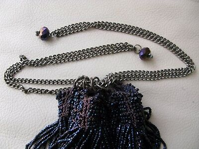 Antique Art Deco Crochet Iridescent Peacock Blue Bead Chain Drawstring Purse Vintage