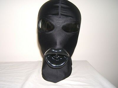Black Spandex Gimp mask with Latex sissy lips in Red, Black or Pink Size M 3