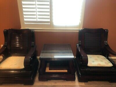 Antique Oriental Furniture Mahogany Couch w Five Seats and Coffee Table 6