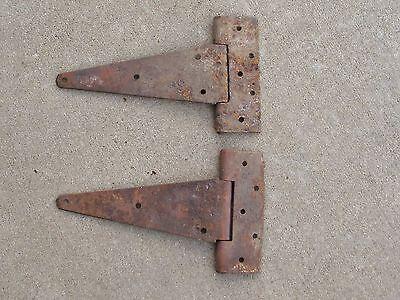 Set of 2 Antique Primitive Steel Strap Hinges Barn Door Rusty 4