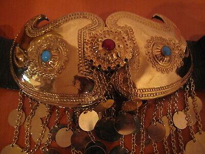 Rare Tribal Belt Buckle Bulgarian Balkan Pafti With Bonwit Teller Leather 6