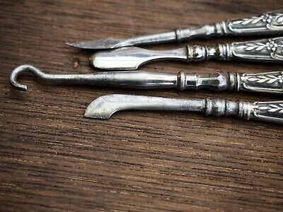 antique French silver manicure Sterling Dresser Set Manicure Tools Button hook 4