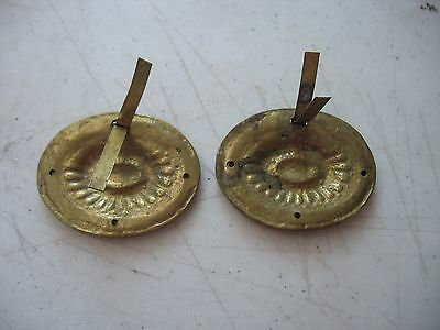 Pair 2 Antique Vintage Brass Drawer Drop Bail Pull Handle Oval Rope Flower 6