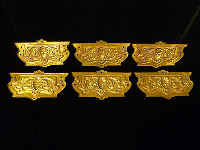Set Of Six Victorian Brass Drawer Pulls With Human Mask Faces - Circa 1880 7