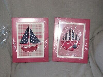 """Cocalo Baby Framed Art Set Two 8x10"""" Pieces NEW Hot Pink Navy Blue Sail Boats 3"""