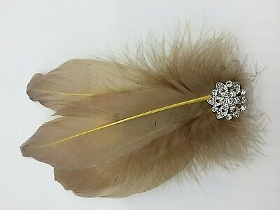 Asst Colour Silver Gem Feather Fascinator Diamante Hair Clip Vintage Style 9