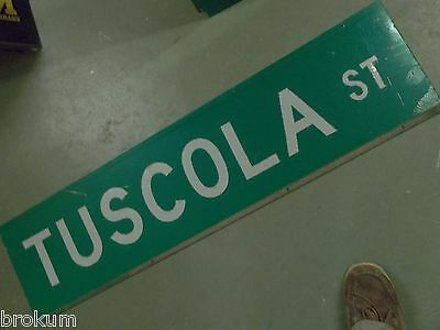 """Large Original Tuscola St Street Sign 48"""" X 12"""" White Lettering On Green"""