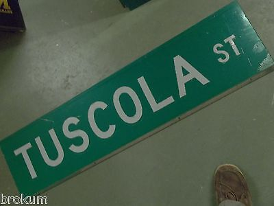 "Large Original Tuscola St Street Sign 48"" X 12"" White Lettering On Green 2"