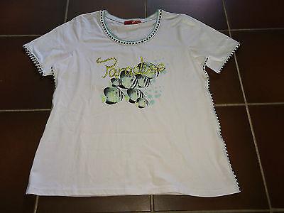 5cdb782c8d1843 ... Damen Shirt T-Shirt Oberteil Gr. 48 weiß gelb Fische Paradise Strass von  Lea