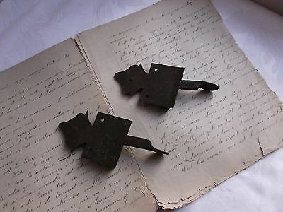 French antique rustic hardware  iron latch lock  c.1900 set of 2 4