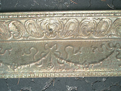 Antique Ornate Raised Relief Brass Gold Tone Metal Fireplace Surround Grate 3