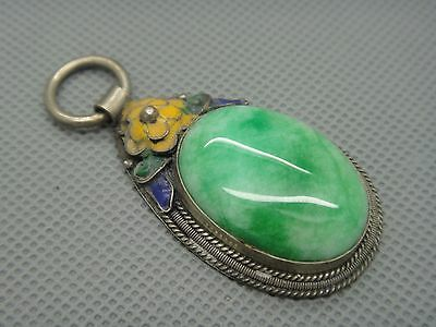 Collectibles Old Decorated Handwork tibet Silver Inlay Jade cloisonne Pendant01 10