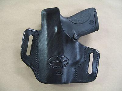 RUGER SR9C COMPACT OWB Leather 2 Slot Molded Pancake Belt Holster CCW BLACK  RH