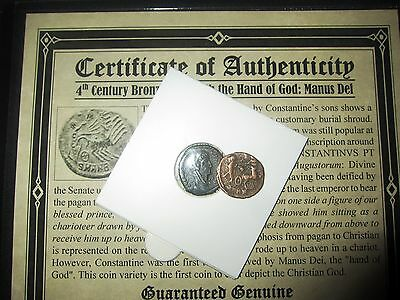 "1-""HAND of GOD"" ROMAN EMPEROR CONSTANTINE 1, THE GREAT, 4TH CENTURY BRONZE COIN"
