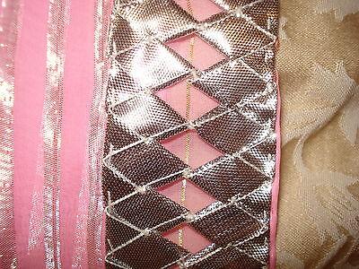 Ladies / Girls Pink Chiffon Saree With Silver Stripes & Zari Border 3